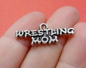 """4, """"WRESTLING MOM"""", Sports Mom Charms 29x11mm ITEM:BY9"""