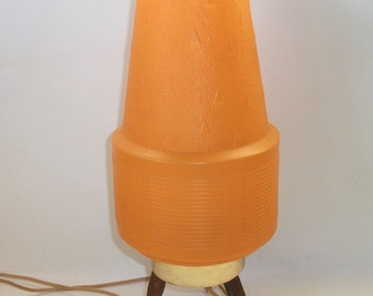 Vintage Table Lamp Orange Plastic Beehive Retro Mid Century Teak Wood Lamp