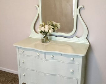 Antique Curved Front Oak Dresser with Mirror Hand Painted Mint Green