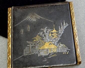 Geisha Face Powder Compact Damascene Mt Fuji K24 Village Gold Silver Puff Japan Sleeve Brass
