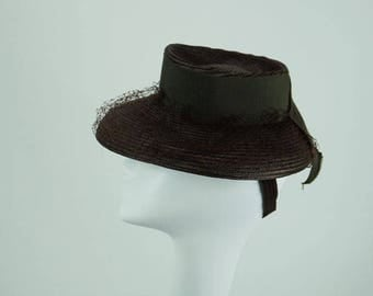 Vintage 1940s Tilt Hat Brown Straw Brimmed with Netting