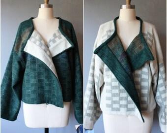 vintage merino wool silk blend jacket / reversible Peggy Gandy Handweaver jacket / deadstock