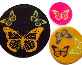 Three Piece Set Butterfly Silicone Table Trivet Kitchen Hot Pad Table Coasters