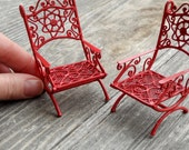 Dollhouse Miniature Garden Chair Set, Pretty Red for Christmas Holiday Decorations, Mini Fairy Garden, Custom Painted, Set 2, One Inch Scale