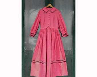 Little House on the Prairie Pink Costume Dress with Black Rick Rack