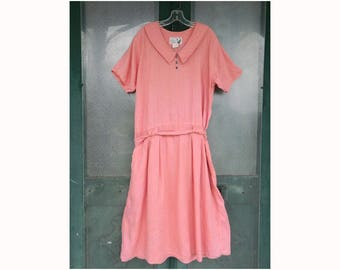 Angelheart Designs Jeanne Engelhart 1995 Vintage Time Traveler Dress in Dusty Rose Linen Small
