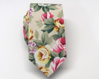 Cotton Mens Tie. Cotton Beige Red Purple Yellow Green Floral Skinny Tie With Matching Pocket Square Option