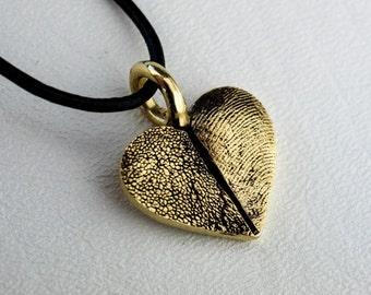 Fingerprint Heart Pawprint Necklace Pendant 14kt Gold Custom Personalized Paw Print