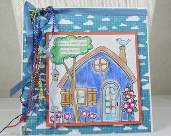Handmade Greeting Card, Home is Where the Story Begins