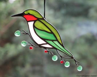 Hummingbird Glass Suncatcher