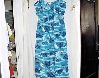 Vintage 70s Muu Muu Dress 14 Blue Flower Orange Boat Print Polyester