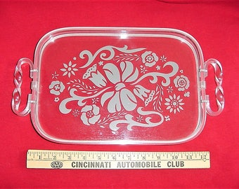Vintage 60s Clear Lucite Vanity Tray Frosted Base