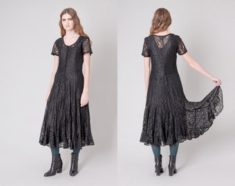 LACE maxi DRESS black short sleeves vintage women 90s goth sheer / small medium / better Stay together