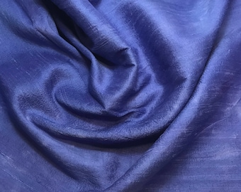 Hand Dyed PERIWINKLE BLUE Silk DUPIONI Fabric - fat 1/4