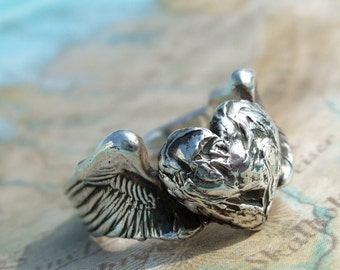 Silver Jewelry, Silver Rings, Fine Silver Ring Gift, Fine Silver Rings, Eco Friendly Silver Rings, Heart and Wings Ring in Fine Silver