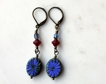 Cobalt Blue Bohemian Earrings / Beaded Blue and Red Dangle Earrings / Bohemian Jewelry for the Weekend / Gift for Her under 25 / Glass Beads