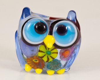 Pale Blue Murrini Owl Lampwork Bead - smaller