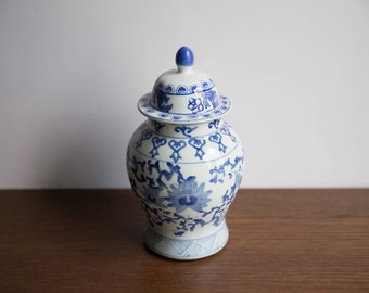 Vintage blue and white ginger jar with lid