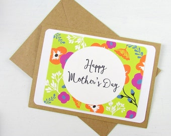 Mother's Day Card | Floral Mother's Day Card | Happy Mother's Day Card with Flowers | Budget Greeting Card | Avacado Salmon Purple Marine