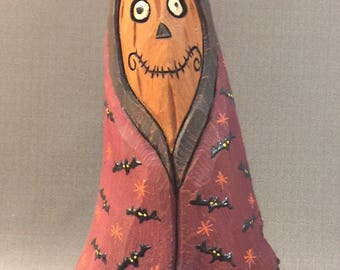 HAND CARVED original Jack-O-Lantern man from 100 year old Cottonwood Bark.