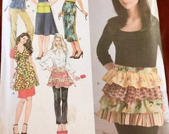 Simplicity 3752 Misses Ruffled Aprons In Several Styles and Lengths, uncut