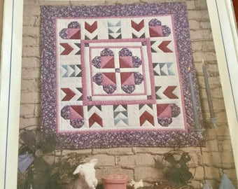 Flowers from the Heart Quilt Wallhanging Pattern with Heart Border from Four Corners, 34 x 34