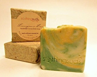 Lemongrass + Lime Handmade Olive Oil & Cocoa Butter Soap, Hot Processed Artisan Soap, All Natural Essential Oil soap, Soothing Suds Soap