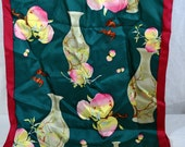 Silk Scarf from the Shanghi Museum - 2 layers of Fabric - Long - Peaches With Pitchers - Dark Pink and Green