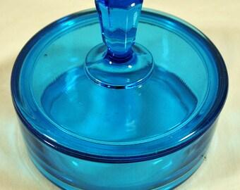 Art Deco Hallmarked New Martinsville Blue Glass Powder Jar with Lid