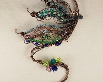 Copper Butterfly SunCatcher, Dream Catcher, Rustic, Garden Swing, Beaded, Lampwork Beads, Wire Wrapped, Flowers #51 by CC Design