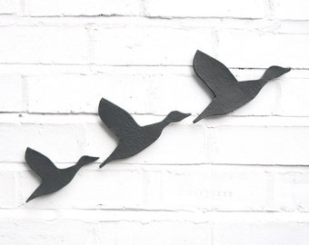 Ceramic wall art Three flying ducks set charcoal grey / gray artwork Modern wall sculpture artwork Bathrooms kitchens living room Handmade