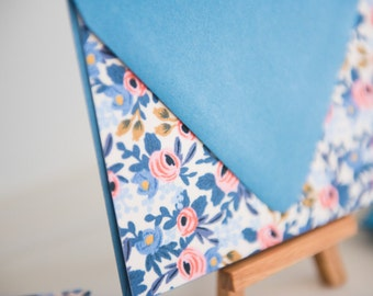 Fabric Note Cards - Rifle Paper Co - Les Fleurs - Rosa in Periwinkle - Cotton and Steel -  // Notes // Stationery // Thank You Cards