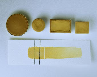 Half Pan or Small Cap - Lemongrass Lt Yellow Ochre, Anthesis Arts Artisanal Handcrafted Handmade Watercolor Paints, Choose Your Size