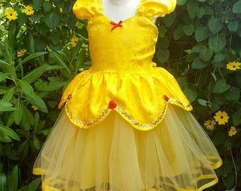 BELLE dress, rose satin Belle costume, Princess dress, yellow dress, girls princess dress, party dress, flower girl dress