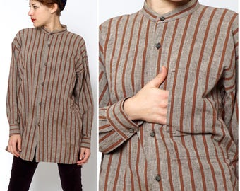 Vintage 1980s Oversized Brown Striped Top by Issey Miyake Plantation | Small Medium Large