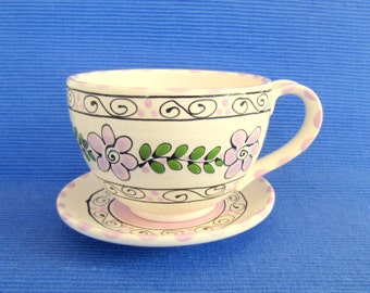 Large Light Lavender Coffee Cup with Saucer