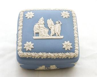 Vintage Wedgwood Jasperware Trinket Box, Pale Blue, Square, Angels and Cherubs