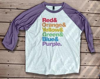 Rainbow Helvetica Typography Tshirt Baseball T Shirt graphic tee tshirt workout shirt rainbows text
