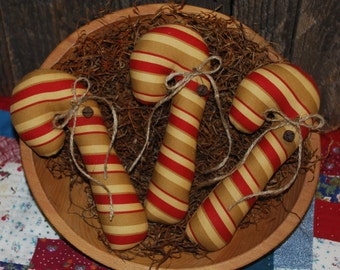 Beautiful Tan and Red Candy Cane Tucks Christmas Ornies Primitive Bowl Fillers SET OF THREE