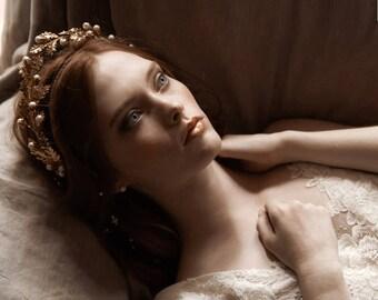 Oak leaf wedding diadem, Grecian goddess crown - Aphrodite no. 2221