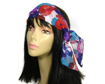Blue and Pink Floral Hair Scarf Boho Head Scarves Neck Scarves Pink Head Scarf Blue Pink White Red Scarves Chiffon Hair Scarves Head Wraps