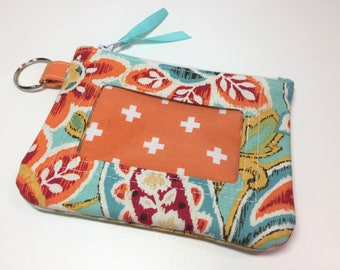 Zip ID Case in Brite Ikat Paisley Floral