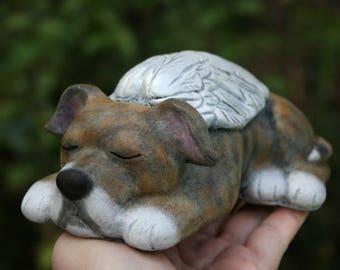 Pit Bull Angel - Dog Memorial - Pitbull Angel Dog Statue - American Bulldog - Concrete Garden Figurine