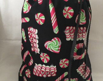 Christmas Fabric Gift Bag  Eco Friendly Bag  Drawstring Reuseable wrap --size 10 inches x 12 inches Candy Canes and Candy