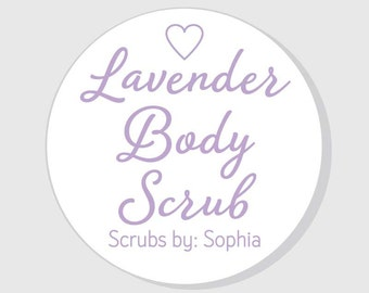 Lavender Body Scrub Stickers Personalized - 1.5 inch - 2 inch - 2.5 inch - 3 inch - Favors - Gifts - Mason Jars