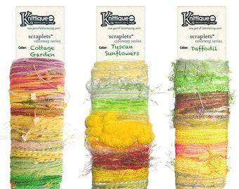 NEW! Scraplets color cards Flowers I collection, luxury/novelty yarns hand-tied in color sequences for embellishments & more!