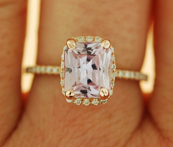 2.22ct emerald cut Peach sapphire Champagne sapphire ring diamond ring 14k rose gold Engagement ring