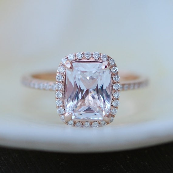White sapphire engagement ring.  Diamond ring. 2.96ct cushion sapphire 14k rose gold ring by Eidelprecious