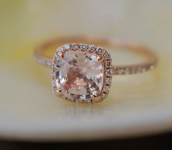 Peach sapphire engagement ring 1.74ct Square Cushion Peach Champagne sapphire 14k rose gold diamond ring engagement ring by Eidelprecious