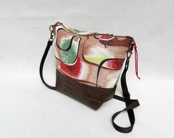 ADELE MEDIUM Cross Body Purse // Medium Shoulder Bag  // Vintage Barkcloth Purse // Cotton and Faux Leather